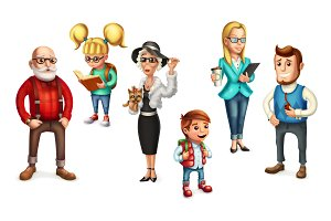 Funny people.Family. Vector icon set