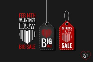 Valentines Day Set of Sale Tags