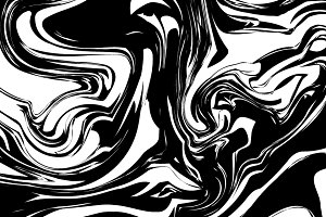 Black ink splash with swirls