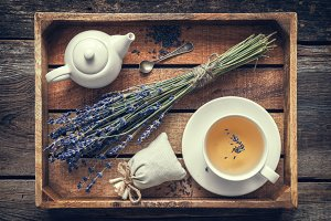 Bunch of lavender and tea cup