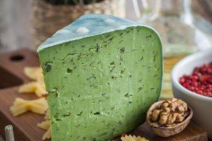 Green pesto cheese and pasta