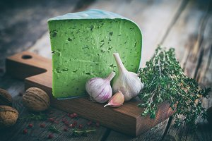 Green cheese with herbs