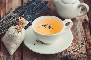 Lavender flowers and healthy tea