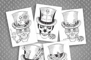 Set of vector skulls in top-hat