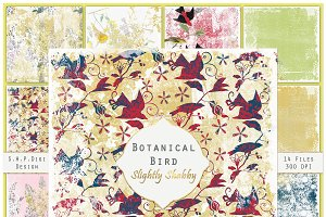 Bird Botanical Shabby Nature Set
