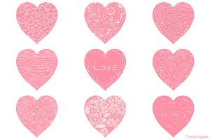 Pink Valentine hearts clipart set