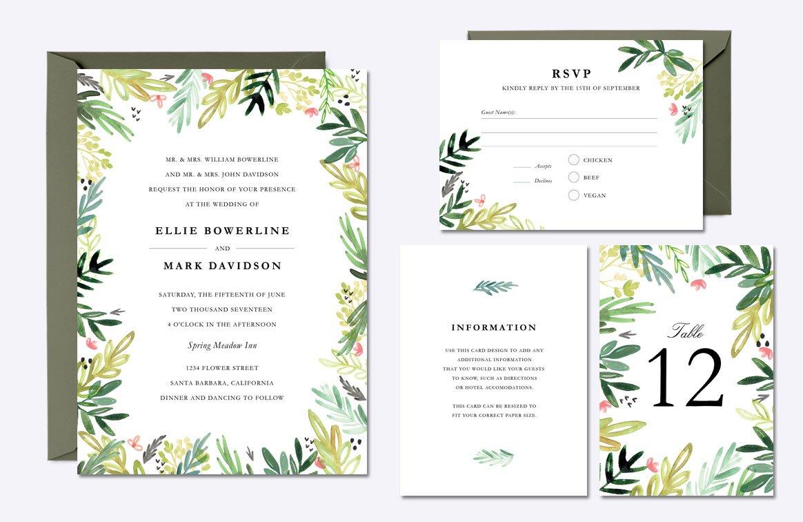 Watercolor Meadow Wedding Suite ~ Invitation Templates ~ Creative ...