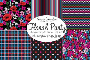 Floral party flower vector patterns