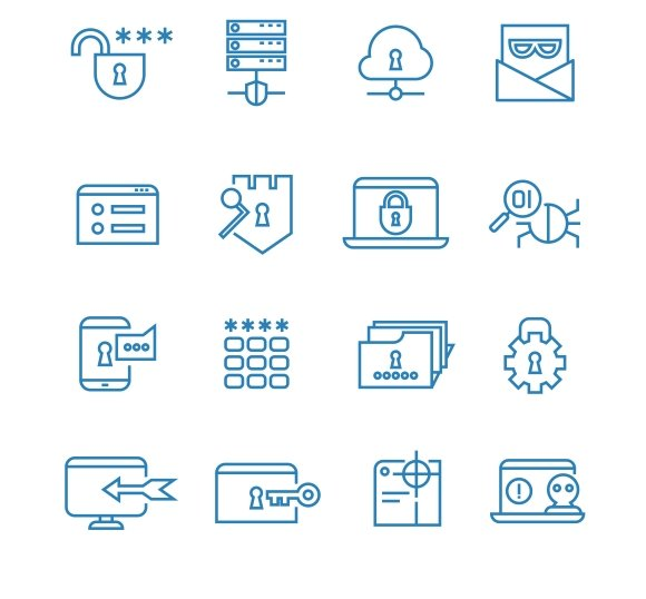 Internet security icons stock photos