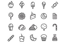 Desserts, sweets thin line icons