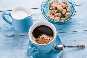 coffee, milk jug and cane sugar