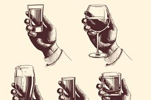 Hands holding glasses with drinks