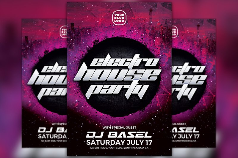 electro house party flyer template flyer templates creative market