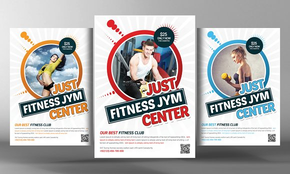 fitness flyer template flyer templates creative market. Black Bedroom Furniture Sets. Home Design Ideas