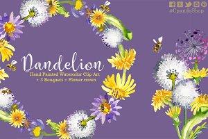 Dandelion floral watercolor clipart