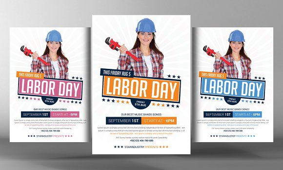 Labor Day Flyer Template Flyer Templates on Creative Market – Labour Day Flyer Template