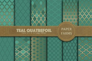 Teal quatrefoil digital paper