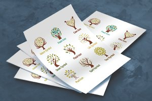 Green Plant Tree Logo Symbol Set