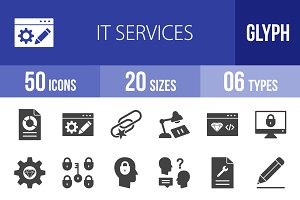 50 IT Services Glyph Icons
