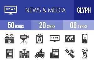 50 News & Media Glyph Icons