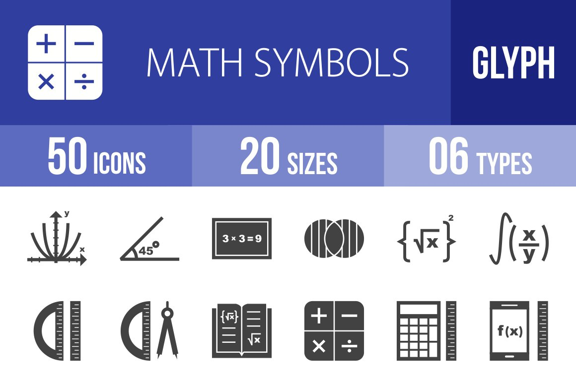50 math symbols glyph icons icons creative market biocorpaavc Images