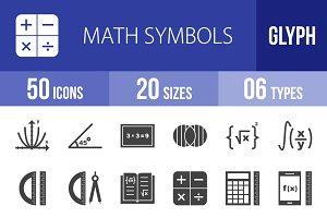 50 Math Symbols Glyph Icons