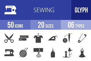 50 Sewing Glyph Icons