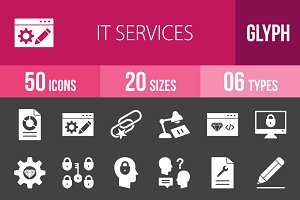 50 IT Services Glyph Inverted Icons
