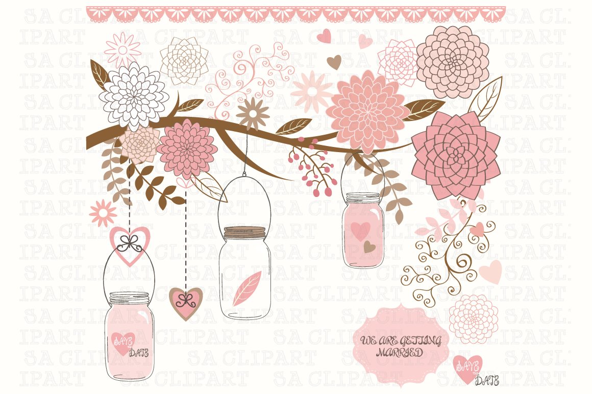 Wedding Mason Jar Clipart Illustrations Creative Market