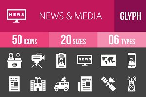 50 News & Media Glyph Inverted Icons