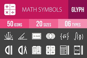 50 Math Symbols Glyph Inverted Icons