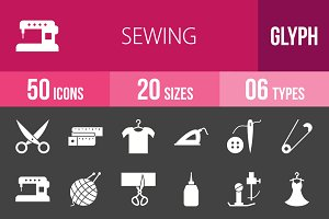 50 Sewing Glyph Inverted Icons