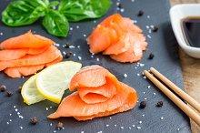 Smoked salmon filet with soy sauce, horizontal, closeup