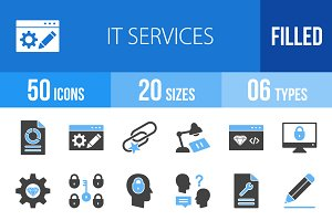 50 IT Services Blue & Black Icons