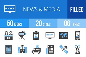 50 News & Media Blue & Black Icons