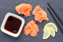 Smoked salmon filet with soy sauce, horizontal