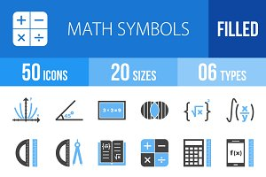 50 Math Symbols Blue & Black Icons