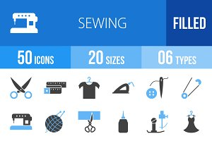 50 Sewing Blue & Black Icons