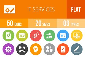 50 IT Services Flat Round Icons