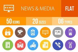 50 News & Media Flat Round Icons