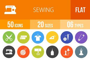 50 Sewing Flat Round Icons