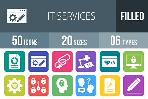 50 IT Services Round Corner Icons