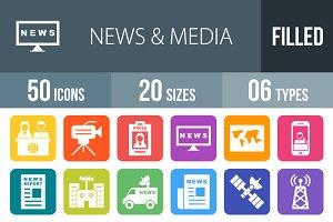 50 News & Media Round Corner Icons