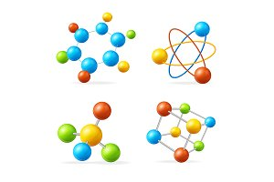 Colorful Molecule Set. Vector