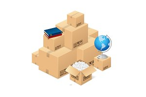 Moving Concept with Cardboard Boxes