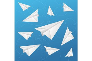 Paper Aircraft Fly on Background