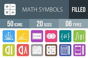 50 Math Symbols Round Corner Icons