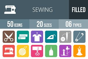 50 Sewing Flat Round Corner Icons