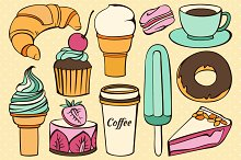 Vector set of decorative sweet food