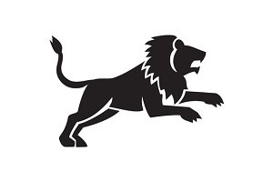 Lion Jumping Silhouette Side Retro